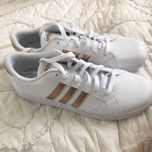 White and Gold Brand New Adidas Superstar Shoes